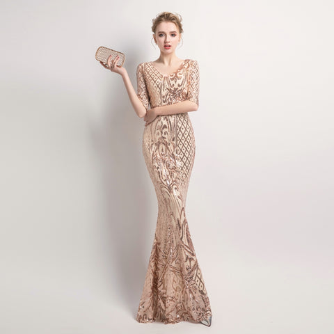 Partysix Half Sleeve Sequins Dress Women Elegant Long Evening Party Dress