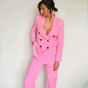 Pink V Neck Collar Button Down Double Breasted Fashion Blazer + Pants Suit Set