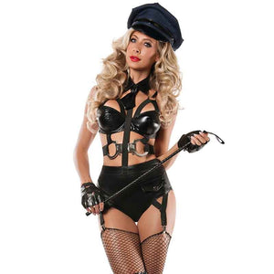 Women's Hot Sexy Leatherette Handcuff Police Warden Costume - ICU SEXY