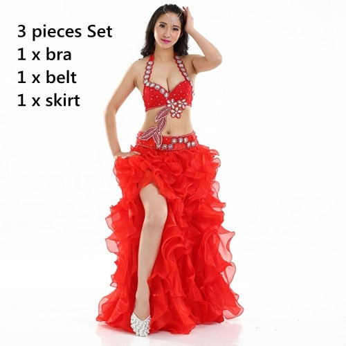 Professional Egyptian Belly Dancer Costume Set Embellished in Rhinestones Bra B/C Cup