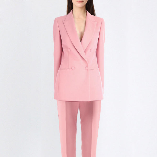 Women's High Quality Custom Double Breasted V Button Pink Blazer Pants Suit