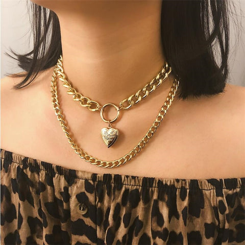 European Punk Metal Heart Thick Gold Alloy Chain Choker Necklace
