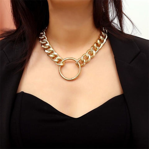 Trendy Brand Fashion Thick Alloy Chain Choker Circle Necklace