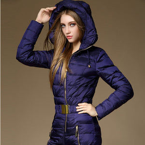 Sizes 08 Women's Trendy Thermal Windproof One Piece Duck Down Ski Suit Down Quilted Snowsuit - ICU SEXY