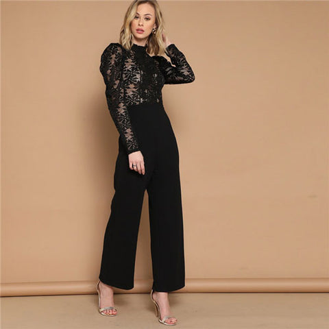 Black Puff Sleeve Mock-Neck Long Sleeve Lace Fashion High Waist Jumpsuit