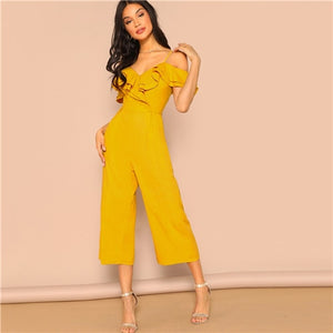 Cold Shoulder Layered Flounce Palazzo Jumpsuit Summer Jumpsuits