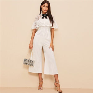 Women;s Bow Detail Lace Bodice Ruffle Foldover Wide Leg Jumpsuit