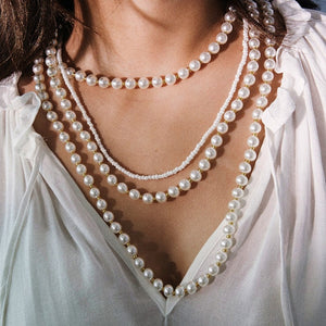 High Fashion Layered Beaded Pearl Choker Necklace
