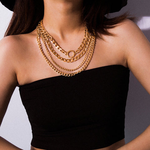 Hip Hop Cuban Chain Link Layered Choker Necklace  Gold/Silver Color - ICU SEXY