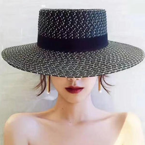 Women's New Fashion Wide Brim Black Flat Top Ribbon Kentucky Derby Straw Hat