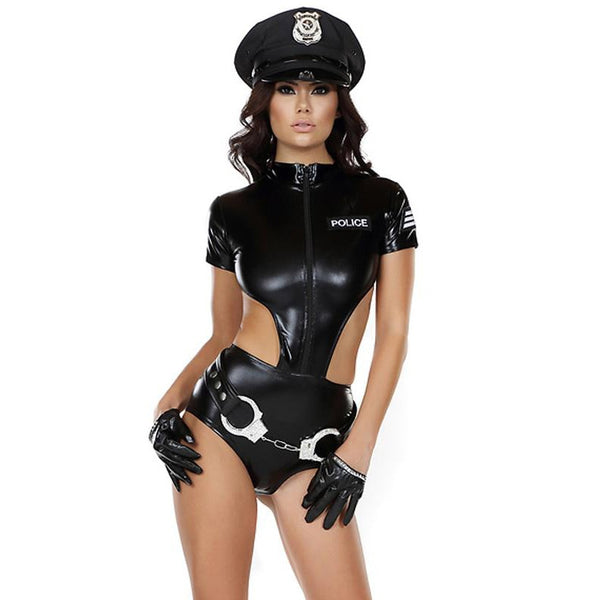 Women's Sexy Leatherette Police Costumes Cosplay Costume Role Play - ICU SEXY