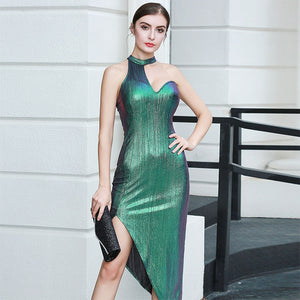 Sexy Peacock Green Halter Asymmetrical Club Dance Party Dress