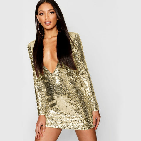 Sexy Club Style V- Neck Sequin Mini Dress Collection in 5 Colors