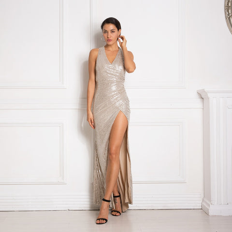 Sexy Sequined V Neck Split Leg Hollow Out Cross Back Pleated Maxi Dress - ICU SEXY