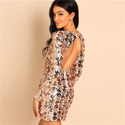 -Gold Sequin Long Sleeve Ladies Backless Mini Dress