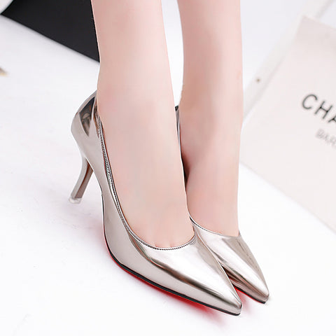 Women's Famous Brand Designer Silver Pointed Toe Fashion Stiletto Heels