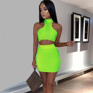 -Sexy Neon Color Two Piece Sleeveless Tank Top Mini Skirt Set