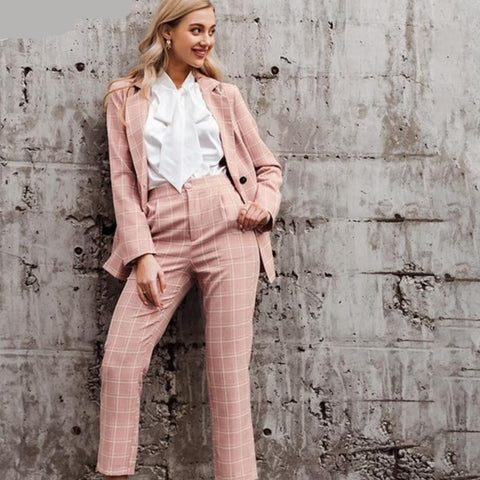 Women's Business Attire Pink Plaid Double Breasted Blazer Paint Suit