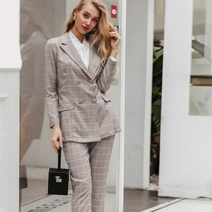 Women's  Double Breasted Plaid Blazer Pant Suit Set - ICU SEXY