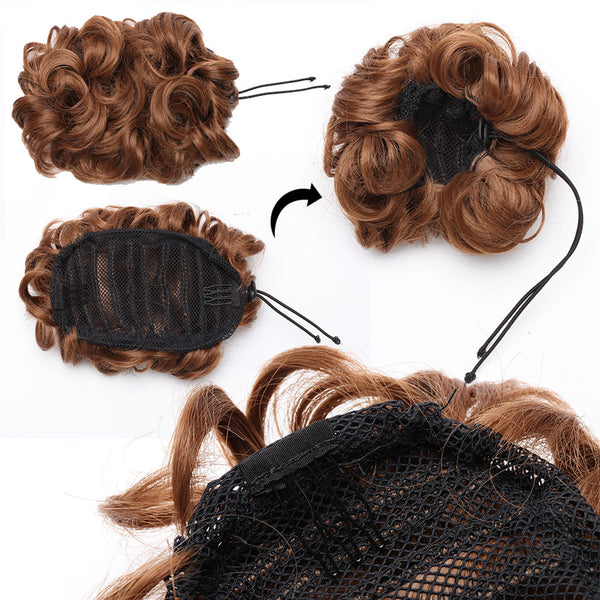 Drawing String Clip In Chignon Hair Bun Synthetic Bun Hair Piece