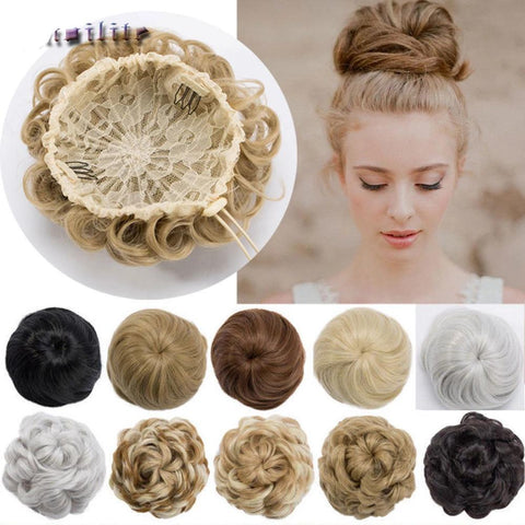 -Drawing String Clip In Chignon Hair Bun Synthetic Bun Hair Piece