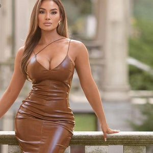 Brown Spaghetti Strap Knee-Length PU Leather Split Bodycon Dress