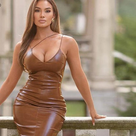 Brown Spaghetti Strap Knee-Length PU Leather Split Bodycon Dress - ICU SEXY
