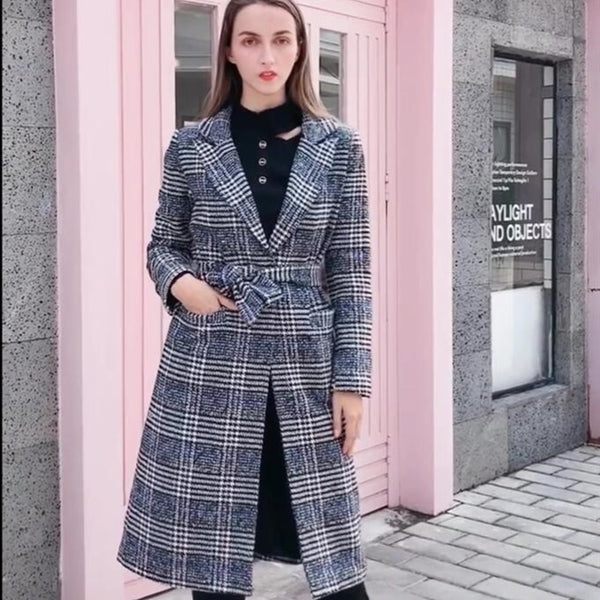 -New Women's Brand Fashion Plaid Checkered Wool Blended Coat