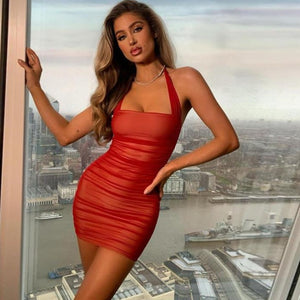 Sexy Sleeveless Halter Solid Bunched Stacked Mesh PU Leather Bodycon Dresses