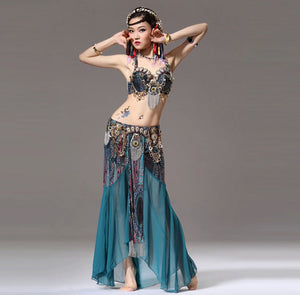 Stage Performance Women Dancewear Tribal Bellydance Outfit Set C/D Cup Coins Bra Skirts Belly Dance Costume 2pcs Bra Skirt