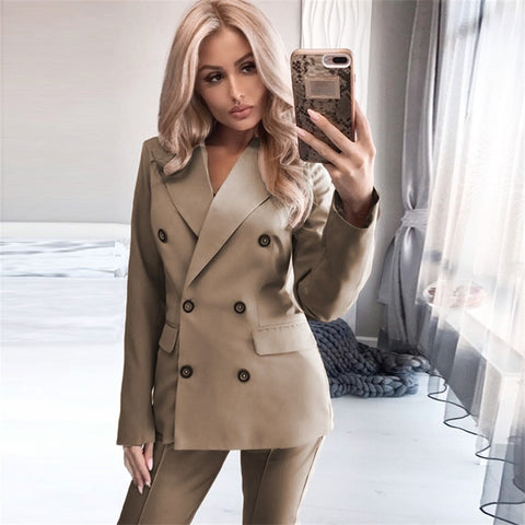 Women's Solid  Long Sleeve Double Breasted Lapel Blazer Two-piece Pant Suit