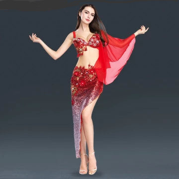 Luxurious Costume Belly Dancer Stage Show Bra +Triangle Dress Skirt Set