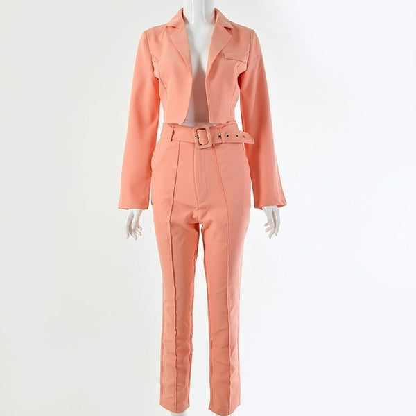Women's Casual Peach Crop Fashion Blazer Jacket And Pant Suit Set