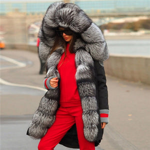 Top Quality Luxurious Fox Fur Collar lined Hooded Fox Parka Coat - ICU SEXY