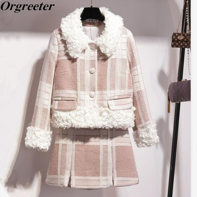 New Winter Fashion Sweet Lambswool Patchwork Tweed Plaid Coat + Mini Wrap Skirt Set