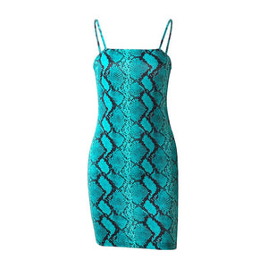 -Umeko Tribal Nation Sexy Snake Print Bodycon Spaghetti Strap Backless Mini Dress