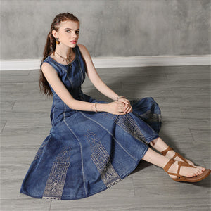 Vintage Cotton Embroidered Sleeveless Denim Maxi Dress