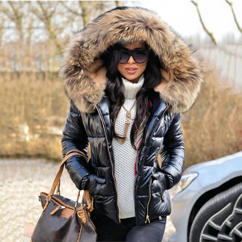 Black Solid Quilted Faux Fur Hooded Long Sleeve Casual Thick Coat - ICU SEXY