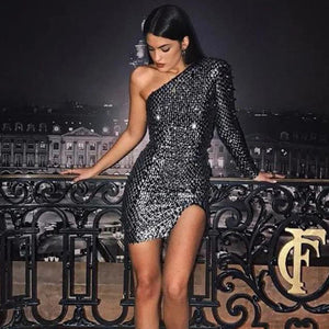 New Sparkling Womens Celebrity Style Women's Sexy One-Shoulder Long-Sleeved Party Dress