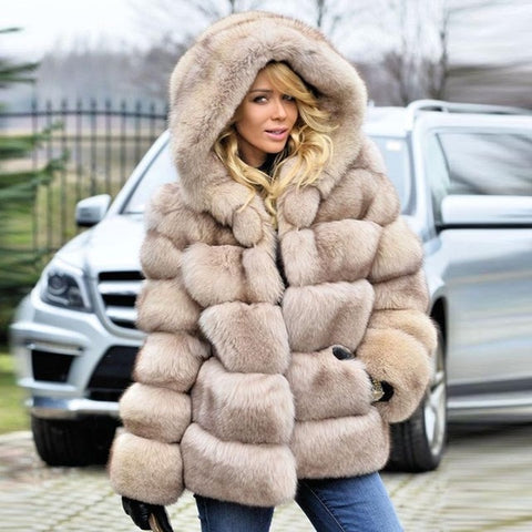 Women's thick Faux Fur Fox Fur Hooded Coat - ICU SEXY