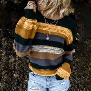 Women's New Style Oversized Loose Striped Long Long Sleeve Casual Sweater - ICU SEXY