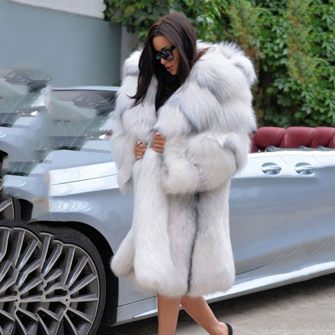 Women's High Quality Loose Celebrity Style Thick Warm Hooded Faux Fur Coat - ICU SEXY