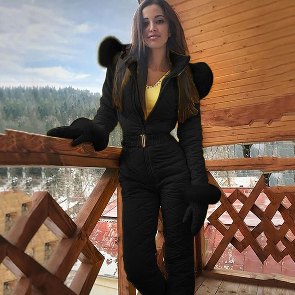 -Women's Winter Fashion One Piece Ski Jumpsuit Thick Quilted Snowboard Snow Suit