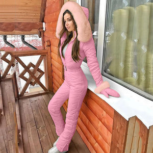 Women's Winter Fashion One Piece Ski Jumpsuit Thick Quilted Snowboard Snow Suit