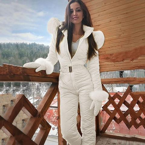 -Women Fashion One Piece Ski Jumpsuit