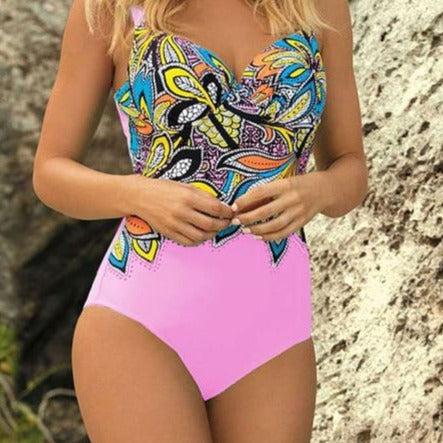 Women One Piece Retro Print Backless Swimwear Bathing Suit - ICU SEXY