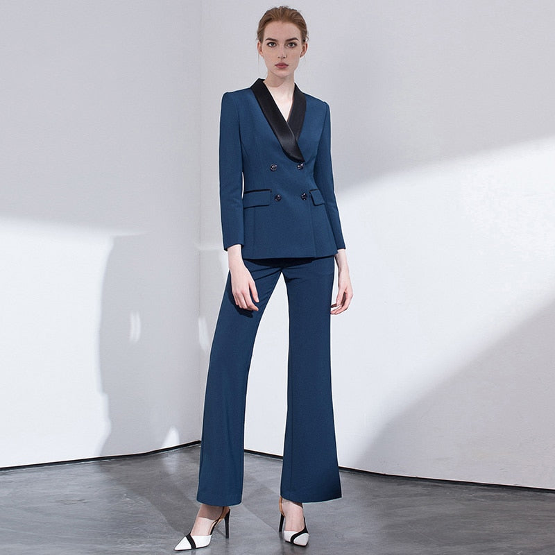 -Women's Double Breasted Notched Collar Jacket Blazer & Pants Suit