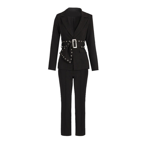 -Women's Solid Black Fashion Blazer Jacket With Belt Pencil Trouser
