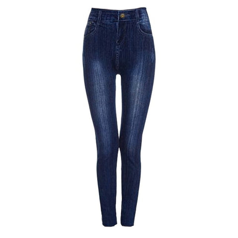 Women Seamless Casual High Waist Faux Jeans Denim Slim Pencil Pants Fitness Leggings - ICU SEXY