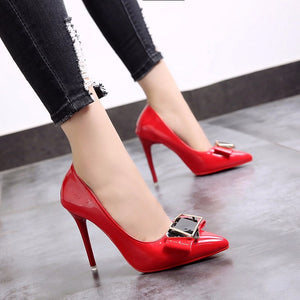 Women Solid High Quality Patent Leather Classic Stiletto Fashion Pumps